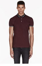 MARC BY MARC JACOBS Deep plum STRIPEd LOGO POLO for men