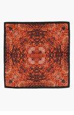 ALEXANDER MCQUEEN Black & orange MORPHING PYTHON handkerchief for men