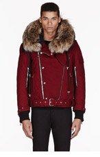 BALMAIN RED fur-trimmed QUILTED biker jacket for men