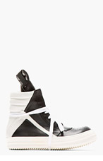 RICK OWENS Black & white Leather High-Top Geobasket Sneakers for men