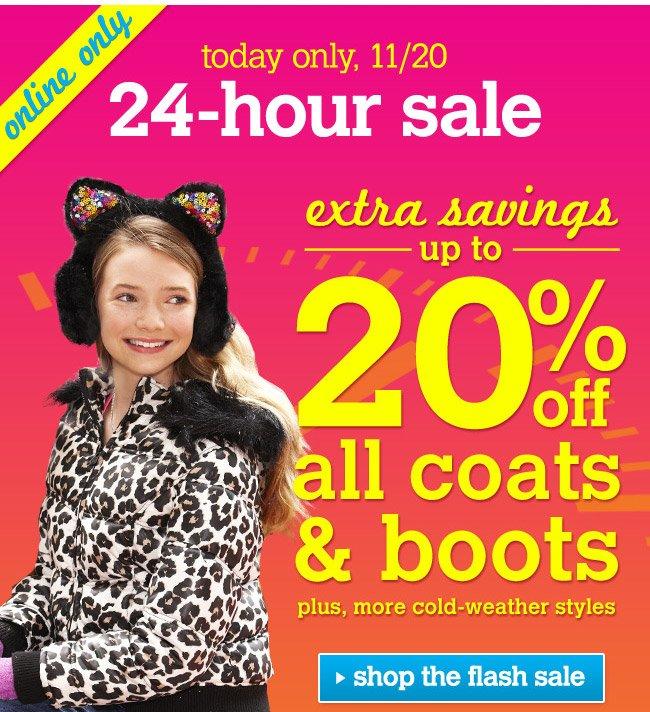 extra 20% off coats & boots