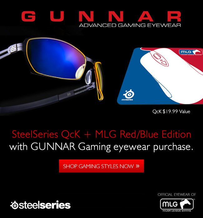 Free MLG Mouse Pad from SteelSeries with GUNNAR eyewear purchase