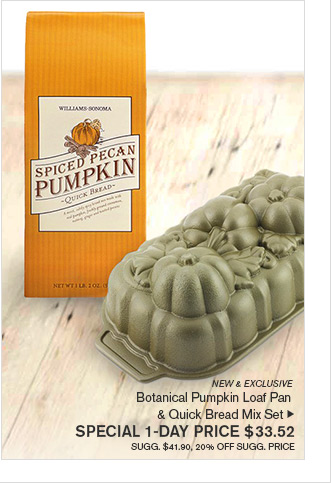 NEW & EXCLUSIVE - Botanical Pumpkin Loaf Pan & Quick Bread Mix Set - SPECIAL 1-DAY PRICE $33.52 SUGG. $41.90, 20% OFF SUGG. PRICE