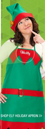 Shop Elf Embroidered Holiday Apron and Hat