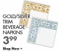 Gold/Silver Beverage Napkins