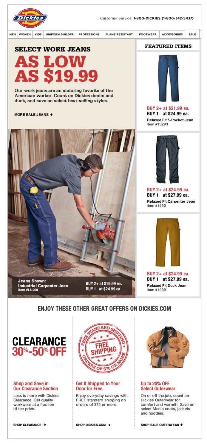 Select Work Jeans as low as $19.99