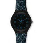 Swatch YGB4006 Unisex Black Dial Aluminum Blue Dots Black Leather Strap Watch