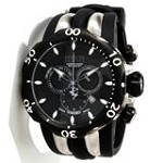 Invicta 10835 Men's Reserve Venom Black Ion Plated Black Dial Rubber Strap Chronograph Watch