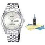 Pulsar PJ6029 Men's Dress Stainless Steel White Dial Quartz Watch with 30ml Ultimate Watch Cleaning Kit