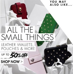 LEATHER WALLETS, POUCHES & MORE UP TO 50% OFF