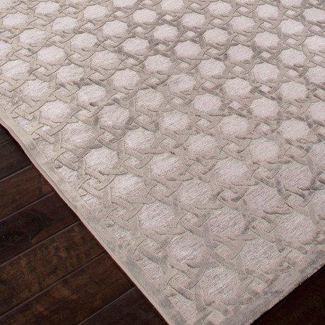 Machine Made Art Silk //  Chenille Trella Rug // Gray