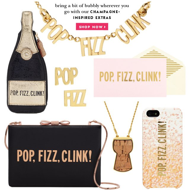 bring a bit of bubbly wherever you go with our champagne inspired extras. shop now.