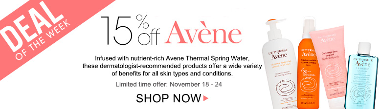 Deal of the Week: Save 15% on AveneInfused with nutrient-rich Avene Thermal Spring Water, these dermatologist-recommended products offer a wide variety of benefits for all skin types and conditions!Offer ends November 24th. Shop Now>>