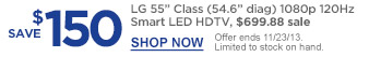 "Save $150 | LG 55"" Class (54.6"" diag) 1080p 120Hz Smart LED HDTV, $699.88 sale 