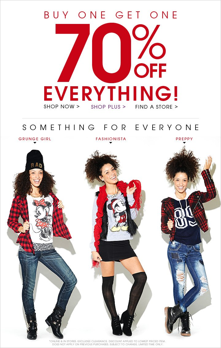 Buy 1 Get 1 70% OFF Everything!