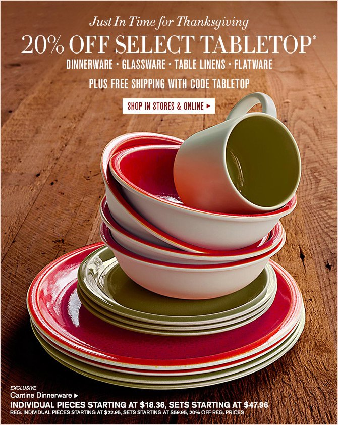 Just In Time for Thanksgiving - 20% OFF SELECT TABLETOP* DINNERWARE - GLASSWARE - TABLE LINENS - FLATWARE - PLUS FREE SHIPPING WITH CODE TABLETOP - SHOP IN STORES & ONLINE