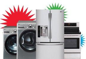 Washer, Dryer, Refrigerator, Range