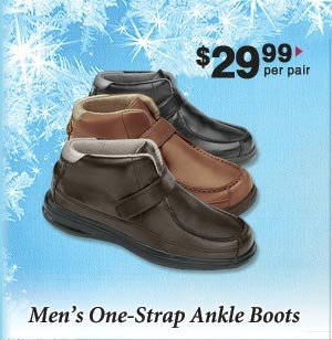 Men's One Strap Ankle Boots $29.99 per pair