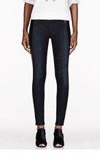 RAG & BONE Deep blue leather-trimmed The Pop Legging jeans for women