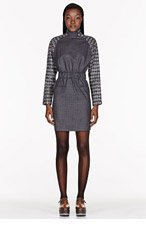 DAMIR DOMA Grey perforated contrast Dolman Sleeve Dress for women