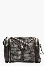 KARA Black Pebbled Leather and mesh double Date Bag for women