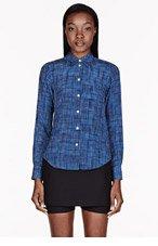 MARC JACOBS Blue & white silk check blouse for women