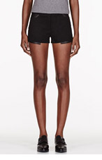 T BY ALEXANDER WANG Black Canvas Twill & leather Shorts for women