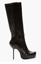 RICK OWENS Black Leather Stiletto Wader Boots for women