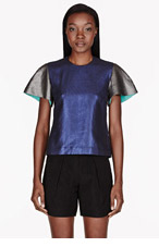 ROKSANDA ILINCIC Cobalt & pewter linen Merton Top for women