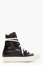 RICK OWENS Black Leather Ramones sneakers for women