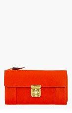 CHLOE Red pebbled leather Long Zipped Elsie Wallet for women