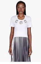 BURBERRY PRORSUM White crystal-trimmed Boyfriend T-shirt for women