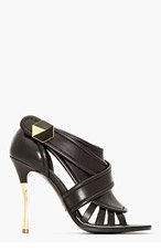NICHOLAS KIRKWOOD Black leather Cut Out wrapped-strap Heels for women