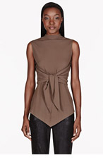 DAMIR DOMA Brown crepe Front Tie Top for women