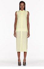 T BY ALEXANDER WANG Lemon Silk Chiffon & crepe Sleeveless Shirt Dress for women