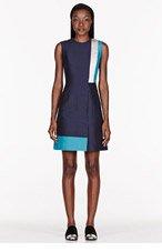 ROKSANDA ILINCIC Black & Teal patchworked Dupion Kilton Dress for women