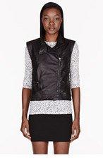 RAG & BONE Black Leather Biker Vest for women