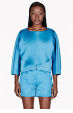 ROKSANDA ILINCIC Teal Sheen Dolman sleeve Cheyne blouse for women