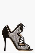 NICHOLAS KIRKWOOD Black Mesh & Pearl Lace-Up Heels for women