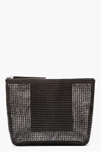 KARA Black Pebbled leather & doubled mesh pouch for women