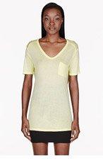 T BY ALEXANDER WANG Pale yellow Sky Classic Pocket t-shirt for women