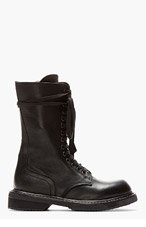 RICK OWENS Black leather zip-up Army Boot for women