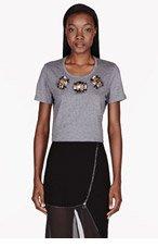 BURBERRY PRORSUM Heather grey crystal-trimmed Boyfriend T-shirt for women