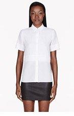 T BY ALEXANDER WANG White Silk Chiffon & crepe Short Sleeve blouse for women