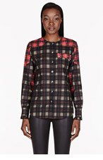 GIVENCHY Black & Red mixed plaid ruffle-cuff Blouse for women