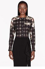 GIVENCHY Black Poplin plaid & roses ruffle-cuff Blouse for women