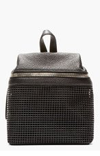 KARA Black Pebbled Leather & doubled mesh Small Backpack for women