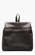 KARA Black Pebbled Leather & doubled mesh Backpack for women