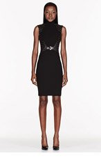VERSACE Black Studded & quilted leather dress for women