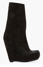 RICK OWENS Black Pull On Slit Wedge Boots for women